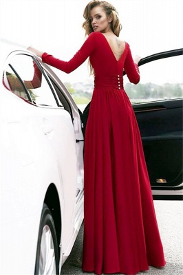 Red Long Sleeves Crystal Prom Dresses | Open Back Side Slit Evening Dresses with Belt_2