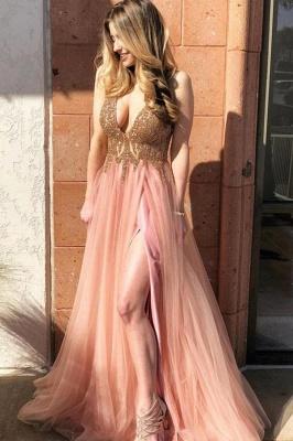 Glamorous Beads Lace Appliques Prom Dresses | Side slit Sleeveless Evening Dresses_1