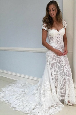 Sheer Appliques Lace Wedding Dresses | Sheer Cap Sleeves Floral Bridal Gowns