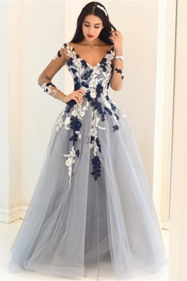 Glamorous Off-the-Shoulder Lace Appliques Prom Dresses |Simple Long Sleeves Evening Dresses_4