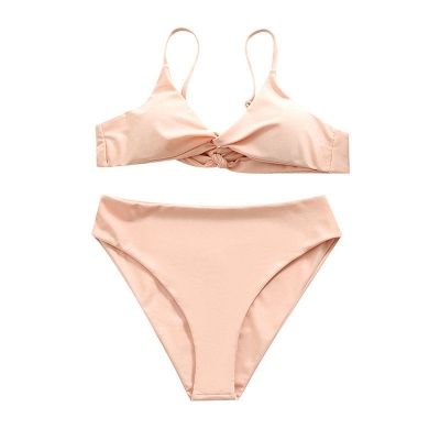 Vintage Nude Lovely Pink Knot Straps Two-piece Bikinis_7