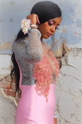 Amazing Pink Flower Sleeved Trumpet Trendy Backless Evening Gown | Suzhou UK Online Shop_3