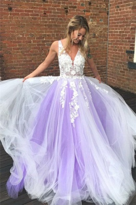 Lace Appliques V-Neck Prom Dresses   Sheer Sleeveless Evening Dresses_1