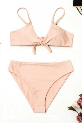 Vintage Nude Lovely Pink Knot Straps Two-piece Bikinis_1