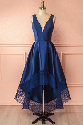 Glamorous Thick Satin Straps Prom Dresses | Hi-Lo Lace Sleeveless Evening Dresses_1
