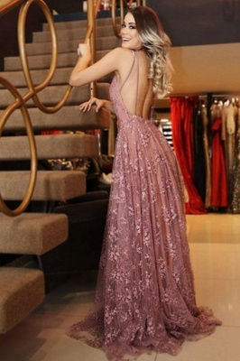 Glamorous Pink Lace Appliques V-Neck Prom Dresses | Backless Sleeveless Evening Dresses_2