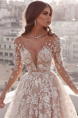 Gorgeous Lace Applique Wedding Dresses | Long Sleeves Floral Bridal Gowns_2