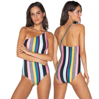 One-shoulder Colorful Sripes One-piece Swimwears_6