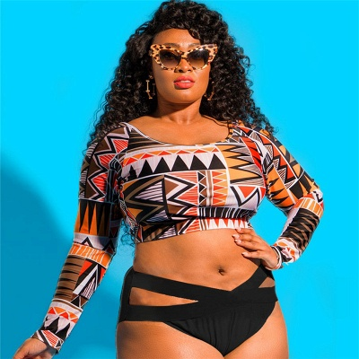 Plus Size One-piece Pattern Prints Cut-out Swimsuits_1