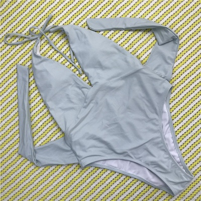 One Piece Sexy V-Neck Halter Ribbon Bow Swimwear Suits_5
