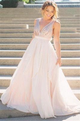 Glamorous V-Neck Sequins Ruffles Prom Dresses Sleeveless Open Back Sexy Evening Dresses_1