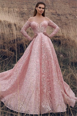 Pink Off-The-Shoulder Sleeved Lace Applique Princess Princess A-line Prom Dresses | Suzhou UK Online Shop_1