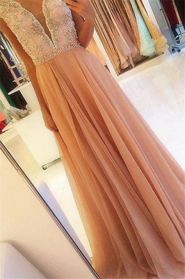 Glamorous Open Back Lace Appliques Prom Dresses | Tulle  Evening Dresses with Crystal_1