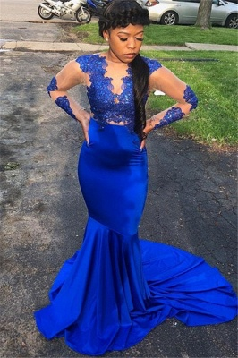 Royal Blue Sleeved Appliques Sheer Quality Tulle Trumpet Evening Gown | Suzhou UK Online Shop_1