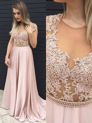 Jewel Beads Lace Appliques Prom Dresses | Pink Sleeveless Tulle Evening Dresses_2