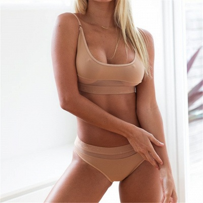 Simple Two-piece Hollow Out Mesh Bikini Sets_7