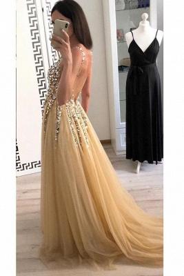 Glamorous Lace Appliques V-Neck Crystal Prom Dresses | Backless Sleeveless Evening Dresses_3