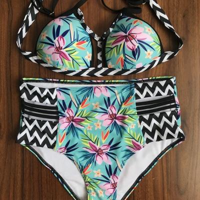 Floral Printed Wireless Padded Straps Bikinis_9