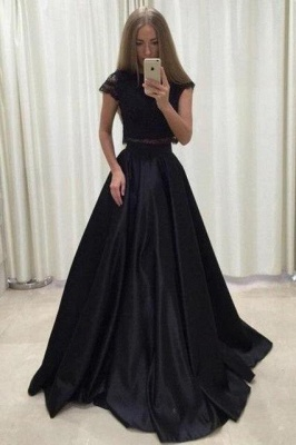 Lace Appliques Jewel Prom Dresses | Two Piece Ruffles Sleeveless Evening Dresses_3