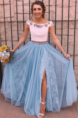 Crystal  Two Piece Lace Appliques Prom Dresses   Side slit Sexy Mermaid Sleeveless Evening Dresses_1