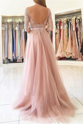 Glamorous Lace Appliques Long Sleeves Prom Dresses   Open Back Jewel Side Slit Evening Dresses with Belt_2
