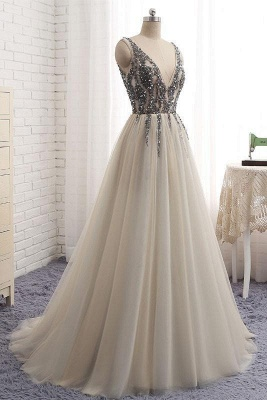 Glamorous V-Neck Crystal Lace Appliques Prom Dresses | Side slit Backless Sleeveless Evening Dresses_3