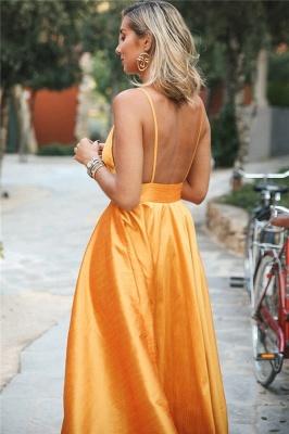 Elegant Orange Spaghetti-Straps Summer Sleeveless Sexy Low Cut Princess A-line Prom Dress | Suzhou UK Online Shop_2