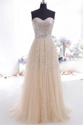 Glamorous Sweetheart Sequins Pink Prom Dresses | Sleeveless Open Back Crystal Evening Dresses_1