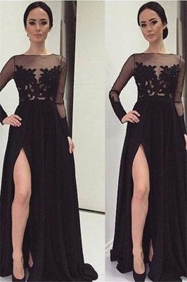 Black Long Sleeve Prom Dresses  Lace Bateau Side Slit Tulle Evening Dresses_2