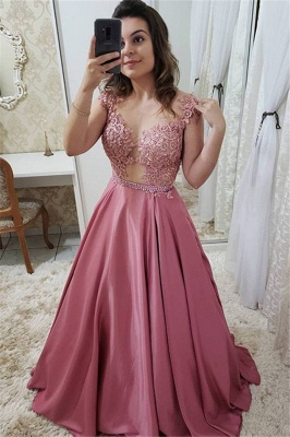 Romactic Pink Off-the-Shoulder Applique Prom Dresses Sleeveless Sexy Evening Dresses with Crystal_1