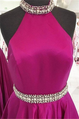 Crystal Halter Prom Dresses | Ribbon Sleeveless Evening Dresses_4