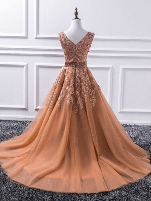 Glamorous V-Neck Applique Crystal Prom Dresses Sleeveless Tulle Sexy Evening Dresses_2