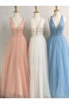 Glamorous Sequins Riboons Straps Prom Dresses | Ball Gown Sleeveless Evening Dresses with Beads_6