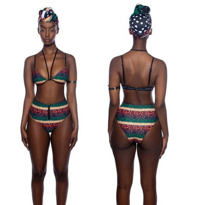 Tribal Prints Straps Two-piece Bikini Set with Cover-up_7