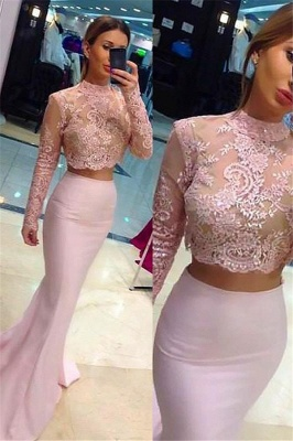 Glamorous High Neck Lace Appliques Long Sleeves Prom Dresses | Sexy Mermaid Pink Lace Two Piece Evening Dresses_1