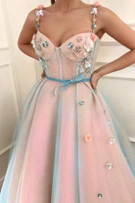 Glamorous Flower Bowknot Spaghetti-Strap  Prom Dresses | Ribbons Sheer Sleeveless Evening Dresses with Beads_2