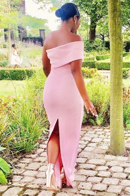 Off-the-shoulder Pink Floor Length Trumpet Bridesmaid Dresses | Suzhou UK Online Shop_3