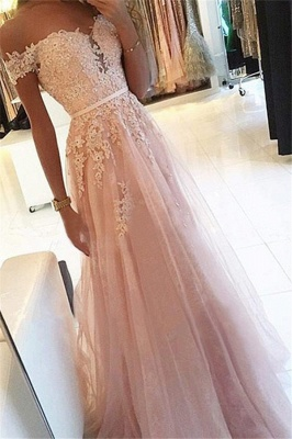 Pink Off-the-Shoulder Lace Appliques Prom Dresses | Tulle Sleeveless  Evening Dresses_1