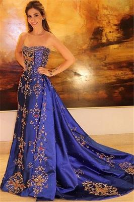 Glamour Strapless Applique Summer Sleeveless Princess A-line Long Prom Dress | Suzhou UK Online Shop_1