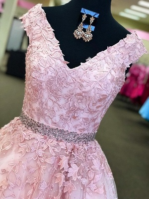 Fashion Pink Off-the-Shoulder Prom Dresses | Lace Appliques Crystal Sleeveless Evening Dresses with Belt_2