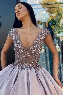 Sexy Low Cut Summer Sleeveless Crystal Beading Ball-Gown Prom Dresses | Suzhou UK Online Shop_4