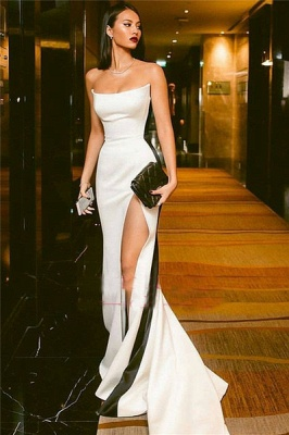 Sexy Strapless Side Slit Evening Dresses  Online | Black White Sleeveless  Formal Party Dress_1