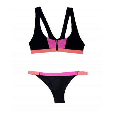 Black contrast Straps Two-piece Bikini Sets_8