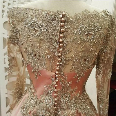 Glamorous Lace Appliques Crystal Jewel Prom Dresses | Side slit Longsleeves Evening Dresses with Beads_2