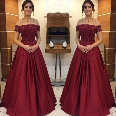 Burgundy Off-the-Shoulder Lace Appliques Prom Dresses | Beads Ruffles Sleeveless Evening Dresses_2