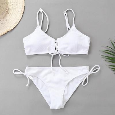 Spaghetti Straps Lace-up Bras Two-piece Bikini Swimsuits_1