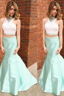 Glamorous Halter Crystal Sexy Mermaid Prom Dresses | Two Piece Ruffles Sleeveless Evening Dresses_1