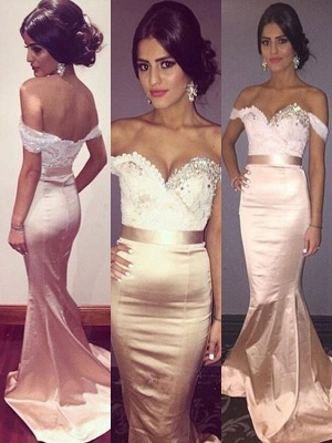 Glamorous Off-the-Shoulder Crystal Prom Dresses Lace Mermaid Sleeveless Sexy Evening Dresses with Belt_2