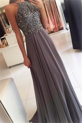 Glamorous Halter Lace Appliques Crystal Prom Dresses   Sleeveless  Evening Dresses with Beads_1