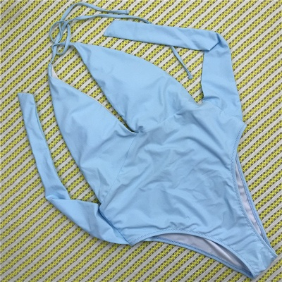 One Piece Sexy V-Neck Halter Ribbon Bow Swimwear Suits_12